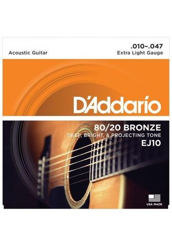 D'addario D'Addario EJ10 80/20 Bronze Acoustic Guitar Strings Extra Light 10-47