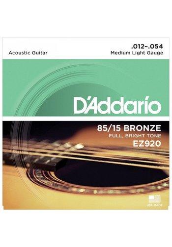 D'addario D'Addario EZ920 85/15 Great American Bronze Medium Light 12-54