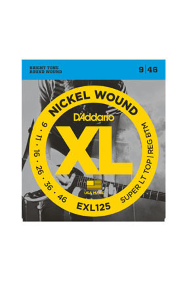 D'Addario EXL125 Nickel Wound Super Light Top/ Regular Bottom 9-46
