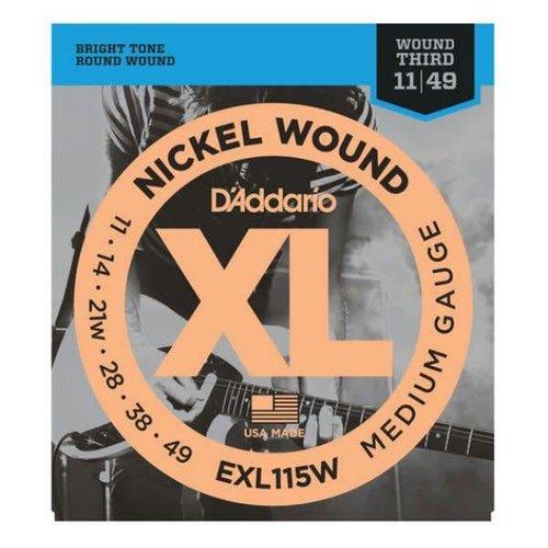 D'addario D'Addario EXL115W Nickel Wound 11-49 Medium/Blues-Jazz Rock, Wound 3rd