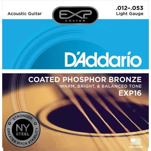 D'addario D'Addario EXP16 Coated Phosphor Bronze Light Acoustic Strings 012-053