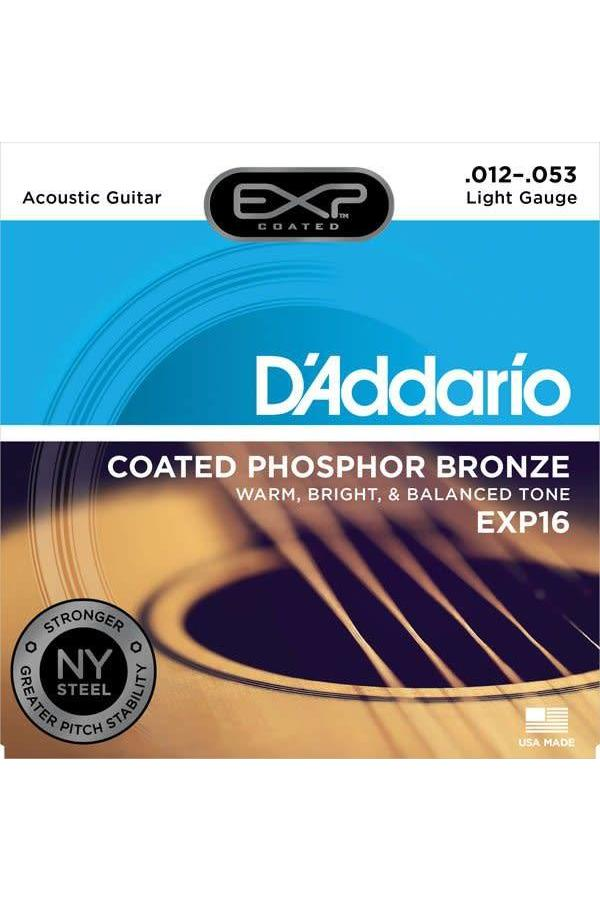 D'Addario EXP16 Coated Phosphor Bronze Light Acoustic Strings 012-053