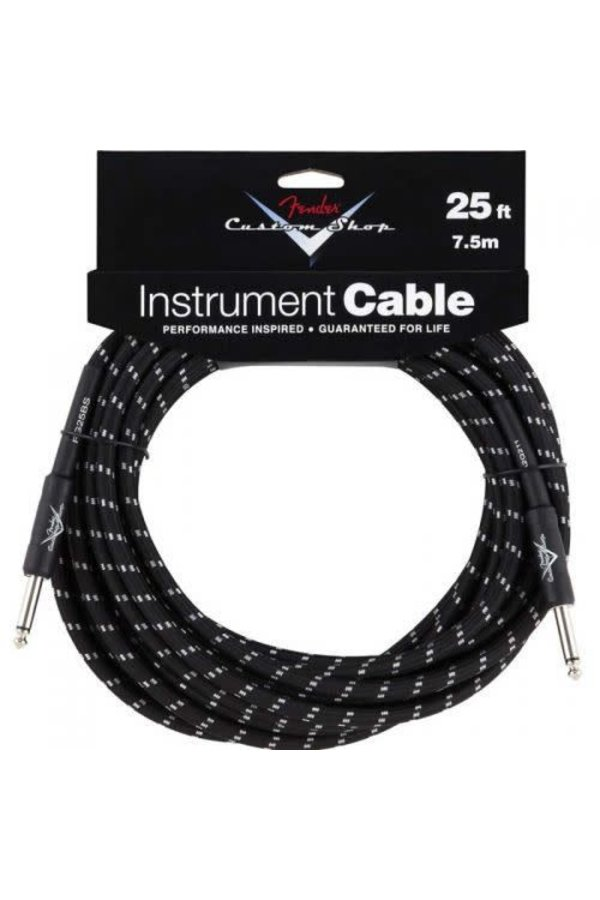 Fender Custom Shop Performance Series Instrument Kabel 7.5m Black Tweed Straight-Straight