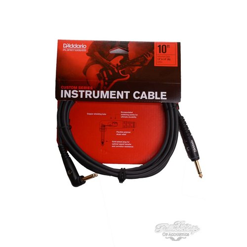 """Planet Waves D'Addario Custom Series 1/4"""" to 1/4"""" Right Angkle Instrument Cable 3.05m (10ft)"""