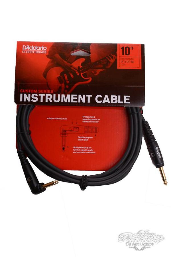 """D'Addario Custom Series 1/4"""" to 1/4"""" Right Angkle Instrument Cable 3.05m (10ft)"""