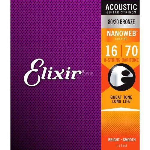 Elixir Elixir Nanoweb Baritone Acoustic 80/20 Bronze 11308 016-070