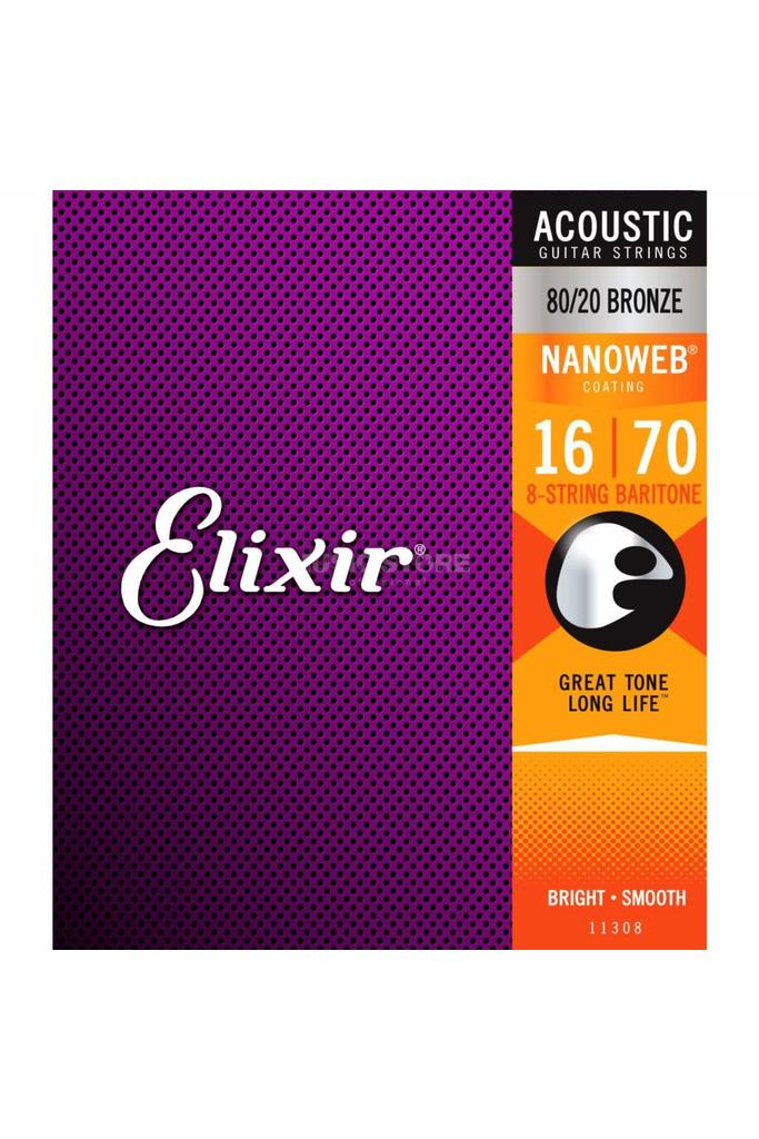 Elixir Nanoweb Baritone Acoustic 80/20 Bronze 11308 016-070
