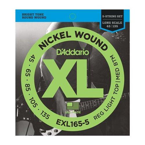 D'addario D'Addario EXL165-5 5-String Nickel Wound Bass Guitar Strings Custom Light Long Scale 45-135