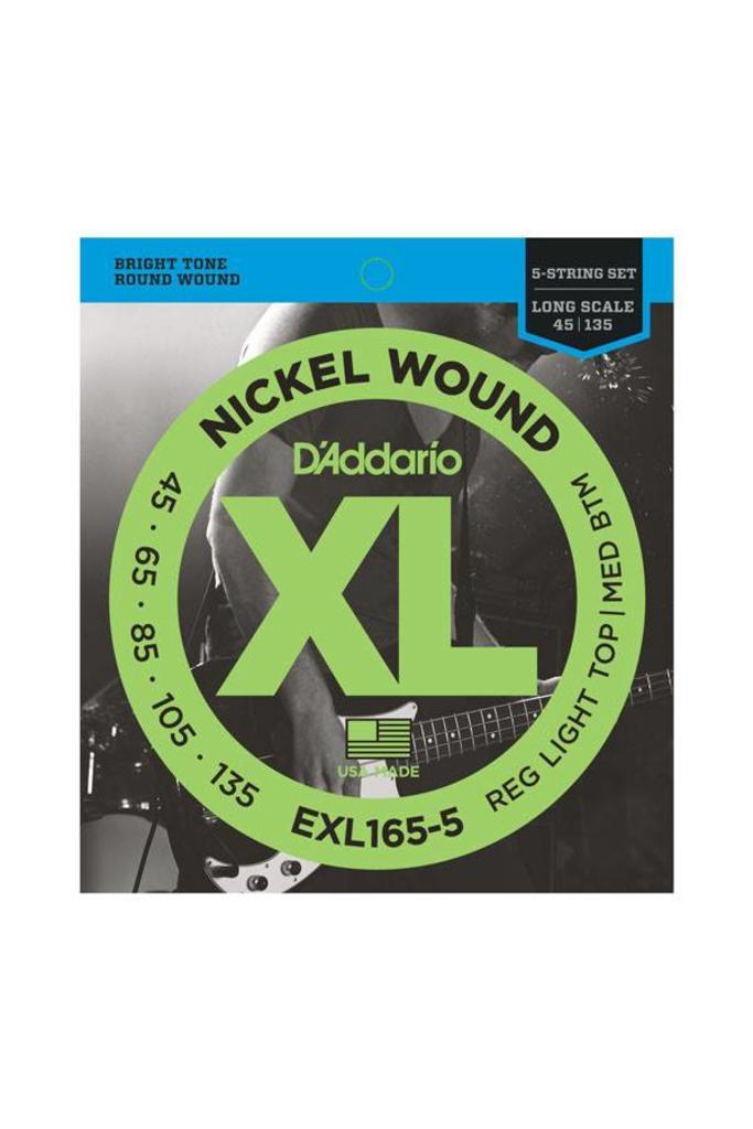D'Addario EXL165-5 5-String Nickel Wound Bass Guitar Strings Custom Light Long Scale 45-135