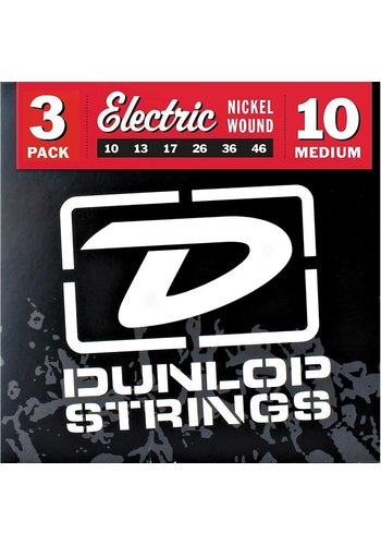 Dunlop DEN1046 Nickel Plated Steel Electric Guitar Strings 10-46 3-pack