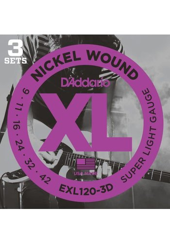 D'addario D'Addario EXL120-3D XL Round Wound Nickel Light .009-.011 3 Sets