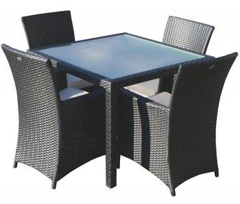 Tuinset Valetta I met Lissabon stoelen - Zwart - Plat vlechtwerk