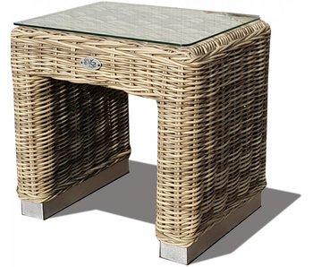Bijzet tafel Boris - Naturel - Rond vlechtwerk