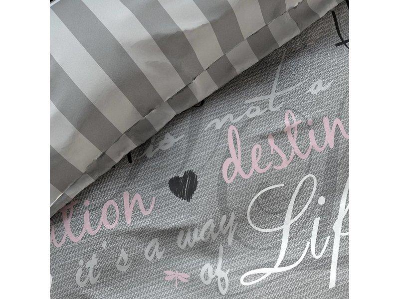 Zensation Dekbedovertrek geruit 'happiness grey'
