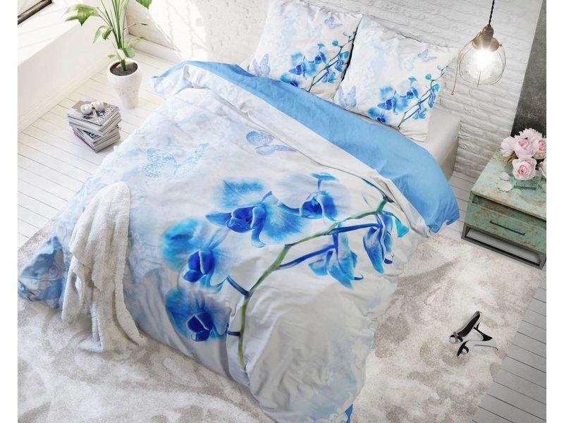 Sleeptime Dekbedovertrek bloemen orchidee blauw