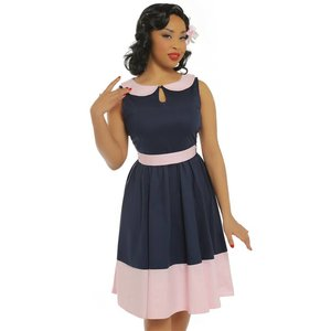Lindy Bop: 'Beattie' Navy Blue Swing Dress
