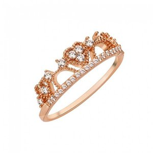 Rose Gold Ring: Hearts in Crown
