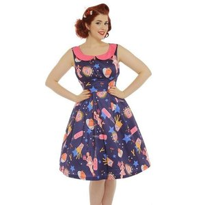 Lindy Bop: 'Sorrell' Purple Diner Swing Dress