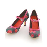Lindy Bop: Black Camellia 50's Style Mary Jane Shoes