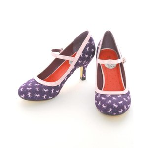 Lindy Bop: Purple Unicorn 50's Style Mary Jane Shoes