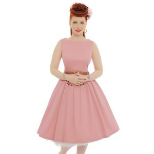 Lindy Bop:  'Audrey' Dusty Pink Swing Dress