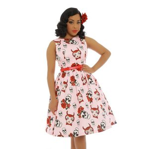 Lindy Bop: 'Audrey' Pink Rose and Skull Swing Dress