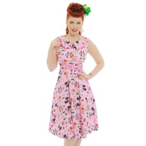 Lindy Bop: 'Oona' Pink Cat Swing Dress