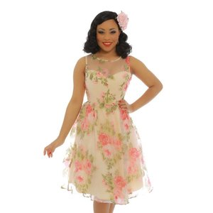 Lindy Bop: 'Blossom' Cream Rose Party Dress