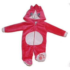 Cutey Pie: Velours Kitten Onesie (0-9 mnd)