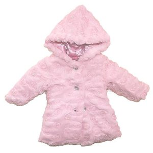 Cutey Couture: Roses & Pearls Furry Hooded Coat,    1-3 jaar