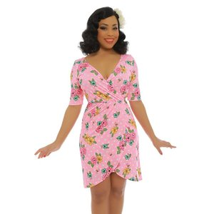 Lindy Bop: 'Tanya' Pink Polka Dot Wrap Dress