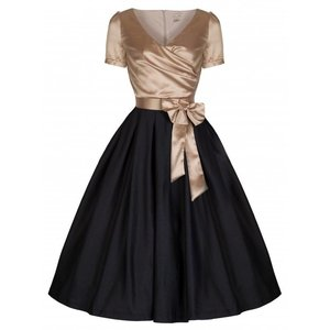 Lindy Bop: 'Gina' Glamourous Golden & Black Tea Party Dress