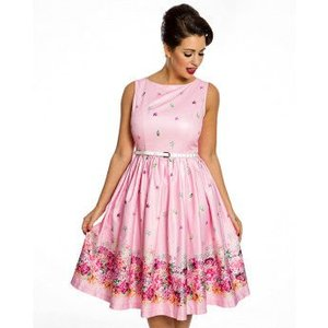 Lindy Bop: 'Audrey' Pink Floral Border Swing Dress
