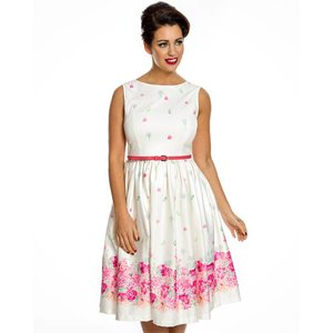 LIndy Bop: 'Audrey' Cream Floral Border Swing Dress