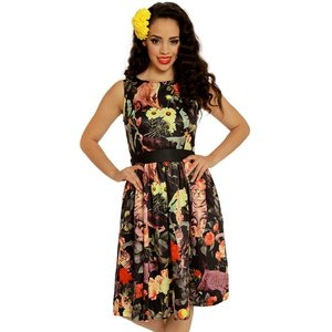 Lindy Bop: 'Audrey' Feline Floral Swing Dress