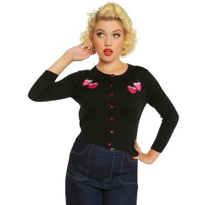 Lindy Bop: 'Bouvier' Black Embroidered Strawberry Cardigan