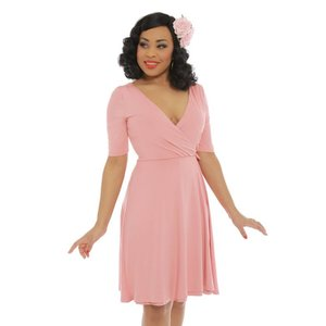 Lindy Bop: 'Anita' Pink Wrap Dress
