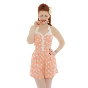 Lindy Bop: 'Palmer' Peach Palm Tree Playsuit