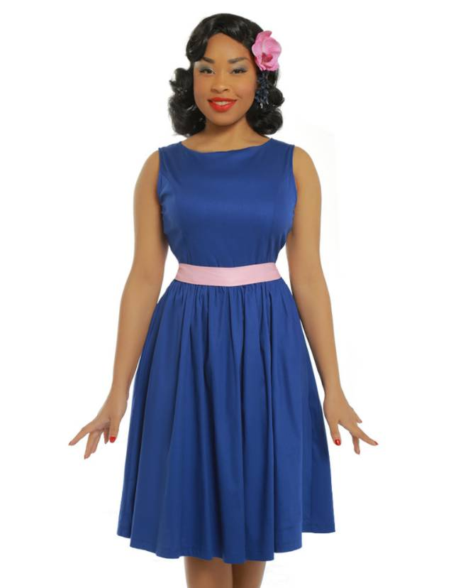 f854bfed181c0b Lindy Bop   Audrey  Deep Blue Swing Dress - My Pink Obsession