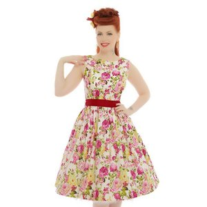 Lindy Bop: 'Audrey' Pink Floral Swing Dress