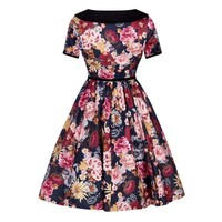 Lady Vintage: Amalia Dress 'Flowers on Blue'