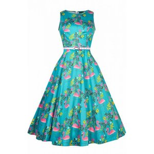 Lady Vintage: Hepburn Dress 'Summer Flamingo'