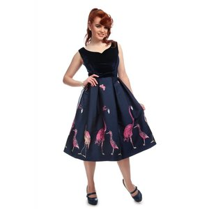 Collectif: Vintage Flamingo Dress 'Princess Liz'