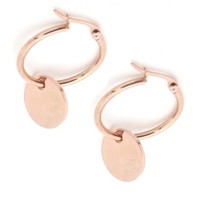 Stainless Steel Rose Gold Creoles  with Coin 2.5cm