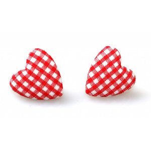 Collectif: Gingham Heart Stud Earrings