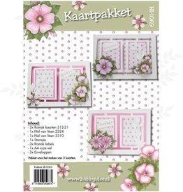 Hobby Idee Kaartenset Bloemen roze Hobbyidee