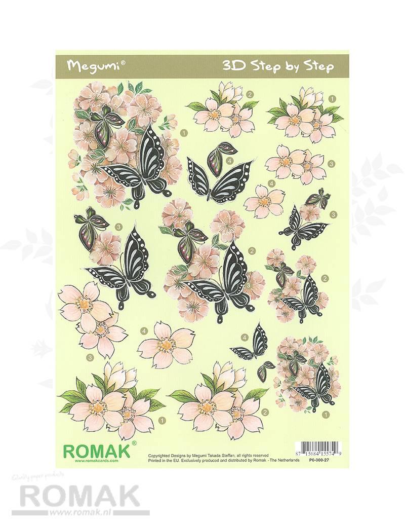 Romak 3D Bogen Romak Megumi Blumen Schmetterlinge
