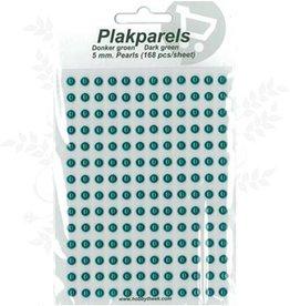 Hobbytheek Plak Parels Donker groen- Dark green 5 mm