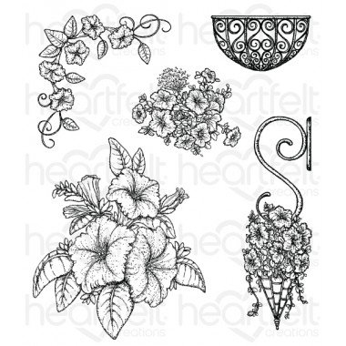 Heartfelt Classic Petunia Bouquet Cling Stamp Set