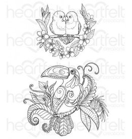 Heartfelt Tropical Parrots Cling Stamp Set